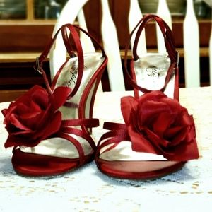 Metaphor Latin Red Ankle Wine Red Heels Sz 7.5